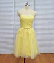 Real Photo Vinoprom Yellow Knee Length A-Line Strapless Lace Cocktail Party Homecoming Dresses 2018