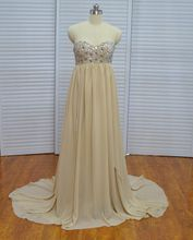 Real Photo Vinoprom Sheath Sweetheart Beaded Champagne Sweep Train Plus Size Prom Dress Evening Gown