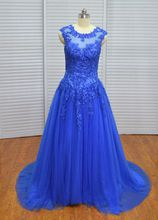 Real Photo Vinoprom Royal Blue Cap Sleeves Tulle Beaded High Quality Lace Up Evening Dresses Prom Gown 2018