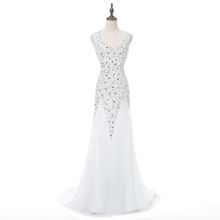 Vestidos Sexy V-Neck Sleeveless Sweep Train Chiffon Beaded Evening Dress Bride Banquet Prom Formal Party Gowns 2018