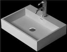 Rectangular Bathroom Counter Top Vessel Sink Cloakroom Matt Solid Surface Stone Above Counter Vanity Washbasin RS38343-649