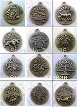 60 Pcs Antiqued Bronze Twelve Zodiac Constellations Photo Frame Pendants Fit Bracelets Necklace Men Jewelry Findings Girls Bijoux M646