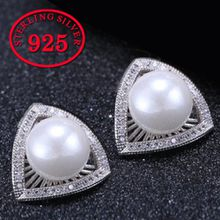 Fashion Triangle Pearl Stud Earrings 925 sterling silver anti-allergy zircon earrings fashion women jewelry