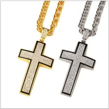 Gold / silver big cross pendant necklace full Rhinestone cross hip-hop crystal men necklace jewelry