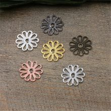 100 Pcs 7 Colors 15MM Hollow Out Flower Charms Wholesale Brass Material Vintage Pendant Charms DIY Jewelry