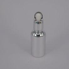 White Silver Coated 30 Ml Uv Electroplated Metallic Cylinder Round Essential Oil Glass Dropper Bottle
