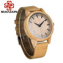 Bamboo Wood Mens Digital Watches Original Roman Design Quartz Leather Bracelet Watch Men's Male Wood Wooden Watch