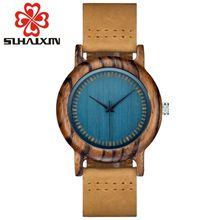 SIHAIXIN Wood Luxury Women Watches With Blue Antique Box Wrist Watches Casual Leather Bracelet Watch Ladies Wooden Watch As Female
