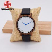 SIHAIXIN Wood Watch Design Round Vintage Zebra Wooden Case Clock Men Handmade Luxury Quartz Watches Soft Real Leather Band
