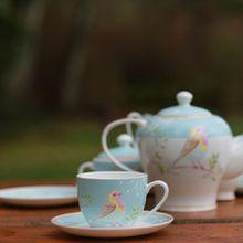 2017 Wholesale European Style Bird Coffee Cup England Bone China Tea Cup And Saucer Set High Quality Mugs