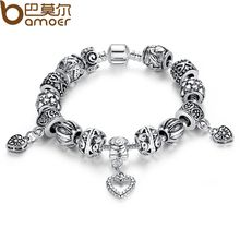 Pandora Style Antique Silver Color Charm Bracelet & Bangle Silver 925 With Heart Pendant for Women Wedding Vintage Jewelry