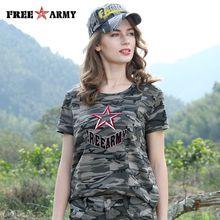 FreeArmy Summer Camouflage T Shirts 2017 Women Turn Down Collar Fashion Military Female T Shirt Ladies Casual Tops & Tees Women