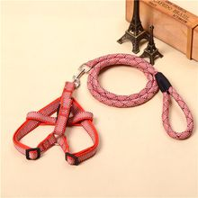 5 Colors Pet Cat Puppy Dog Leashes and harness Long Smooth Dacron Breakaway Solid Color Dog Walker Dog Adjustable Handmade Strap Collar