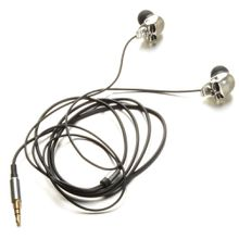 new Cool Silver Skull Heads 3.5mm Port Metal Headset Earphones For Phone MP3 iPads Free Shipping