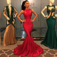 Red Mermaid Evening Dresses Robe de Soiree 2017 Custom Made O-Neck Cap Sleeve Floor Length Prom Dress Formal Women Party Gowns Vestido
