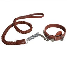 Outdoor High Quality Pet Dog Leather Walking Leashes 130cm Adjustable Collar Safety Traction Belt Walking Training
