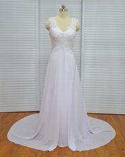 Wedding Dress Vestido De Noiva Robe De Mariage A-line V-Neck Beaded Chiffon Sweep Train Wedding Bridal Gown