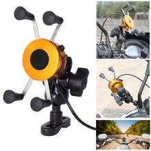 X-Grip Motorcycle Bike Handlebar 3.5-6 Inch Cell Phone Mount Holder USB Charger For iPhone Android Free Shipping