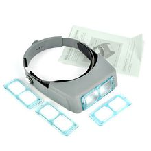 4 Lens Head Band Binocular Magnifier Optivisor Headset Light Lamp Head Band Set 4x Lighted Magnifying Glass Eye Loupe Watch Repair Welding