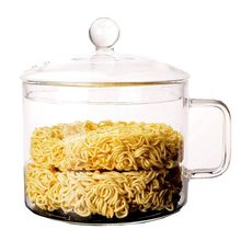 Large capacity salad bowl Microwave oven open flame heating glass instant noodle cup Household noodle pot D40