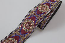 Customiz wholesale Polyester Woven Jacquard Ribbon dark red totem pattern for curtain and clothing accessory LS-0558