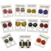 Europe and America Fashion Competitive Ball Games Jewelry Crystal Basketball Stud Earrings wholesale