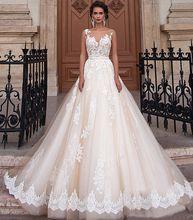Vestidos De Noiva New Arrival Bride Lace Wedding Dresses Bridal Gown 2017 Sheer Backless A Line Robe De Mariage Sashes Bridal Gowns