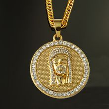 18K Gold Plated Shiny Rhinestone Round Necklace& Pendant Hip-Hop men Jesus pendant Necklace in jewelry