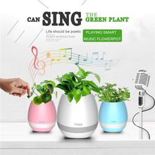 Flower Plant Smart Music Pot Bluetooth Speaker With LED Light Touch Control Piano Function Home Office Furnish Decorate Gift DHL Shipping