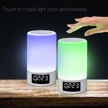 Touched Colorful lighting Bluetooth Speaker Touch Dimming Alarm clock FM Lamp Music Player Hands Free Party Speaker GIFT