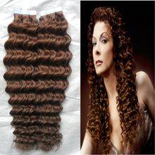 "10-28"" Tape Hair Extensions Virgin 100G Human Hair Tape In Hair Extension Skin Weft PU Hair Extension Remy 30 Auburn Brown Curly Tape Hair"