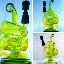 glassfactorys Pink purple amber green pink colorful Reversal GLASS BOWL 18.8mm bongs Barrel type with handle mixed color lines 14.5mm