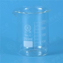 250ML Low form beaker with graduation and spout,Boro 3.3 glass