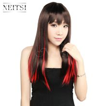 Neitsi 18inch Red#(F19#) 10pcs/lot Straight Synthetic Clip in Hair Synthetic Clips Hair Single Clip Hair Piece Highlight Extensions