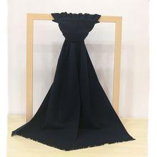 Men's winter fashion simple solid color blended wool short fringed scarves