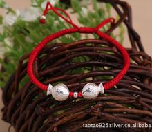 Flaming Tree Silver Flower 99 sterling silver transhipment beads hand-woven hand rope for the year of life, male and female lovers bracelet