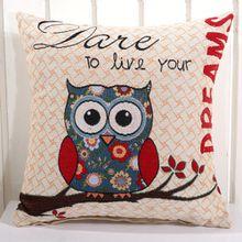 Square Owl Pattern Cushion Pillowcase Sofa Cushions Cotton Linen Throw Sofa Cushion Cover 18X18 Inches