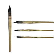 High Quality Grey Squirrel Hair Watercolor Painting Brush Round Mop Style Natural Wooden Handle for Professional Drawing Artist