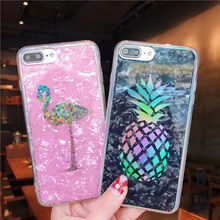 Shining Pineapple Cover Colourful Hard Plated Marble Casing Laser Flamingo Cactus Chrome Shell Grain Case for iPhone X 6 6S 7 8 Plus