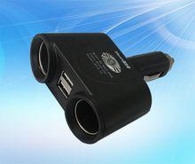 2 Socket Car Cigarette Lighter Adapter Socket 12V/24V 10A Car Cigarette Lighter Extender Splitte with 2.1A Dual USB Car Charger Supply
