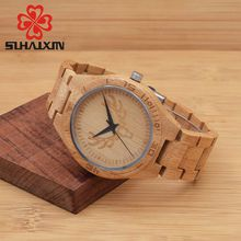 SIHAIXIN Natural Bamboo Wooden Watches With Deer Head Burn With Bamboo Strap For The Present
