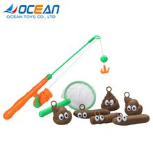 Children new style funny bath game toy fishing tool set with 8pcs floaters