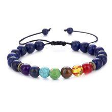 Newest design seven chakra energy stone bracelets natural lap tiger eye adjustable bracelets unisex yoga bracelets wholesale