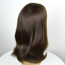 In stock Jewish Kosher wigs color 4 brown Mongolian human virgin hair wigs silk top small layer 120% density