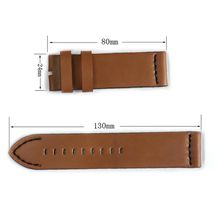 Cbcyber 24mm Genuine Leather Watch Band Strap for all Watch With steel Buckles, men's watchbands for luxury watch