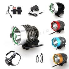 1800Lm CREE T6 LED 3 Modes Five Colors Choice Bicycle Bike Light Headlight headlamp with Battery Pack Headband Charger