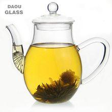 blown pyrex borosilicate glass blooming flower teapot factory