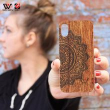 Wood Carved Patterned Case for iPhone X Rosewood Hard PC Back Mobile Cover 5.8 Inch Red Animal Coque for Apple 10 X accessories Supplier