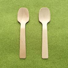 "10094#, 4""inches 10cm Mini wooden spoon round Disposable Teaspoon Coffee scoops Icecream Cutlery Flatware Eco-Friendly Cake"