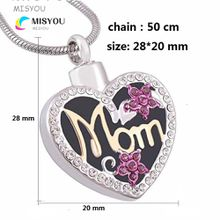 custom-made heart-shaped MOM urns funeral cremation necklace pendant fashion keepsakes jewelry necklace.